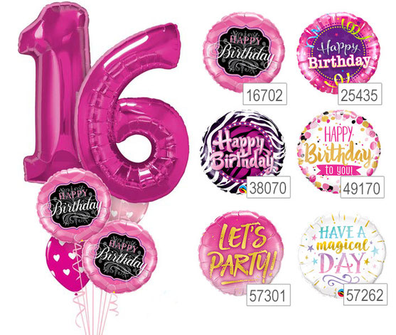 Ballon Luftballon Heliumballon Ballonzahl Heliumzahl 16 18 Happy Birthday Lets Party Have a magical Day Geburtstag Deko Dekoration Überraschung Geschenk Idee Mitbringsel Ballonpost Ballongruß Versand verschicken Helium Heliumballon Mädchen Frau pink rosa