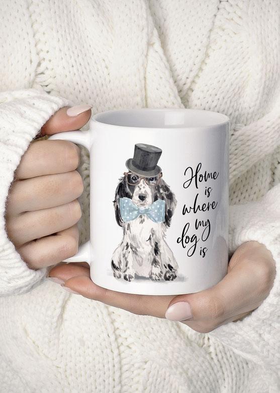 Tasse mit Spruch Wohnen & Leben Hund Cockerspaniel