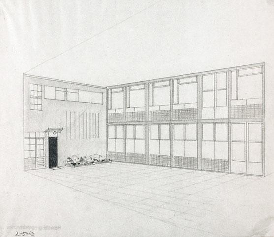 Werkstatt- und Hausfassade, 1952, (B 48/4), aus  Baugestaltung Museum Wiesbaden, S.176, © Museum Wiesbaden, Archiv Friedrich Vordemberge-Gildewart