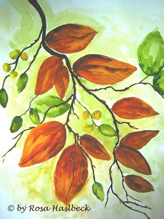 aquarell kaufen, kunst kaufen, bild kaufen, malen, herbst, herbststimmung, blätter, laub, malen, dekoration, baum,