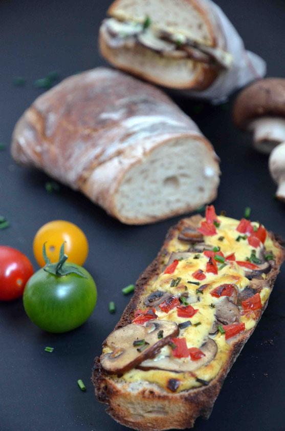 Kalt oder warm: das besondere Champignon-Baguette mit Pfiff - einfach und schnell selbst gemacht.