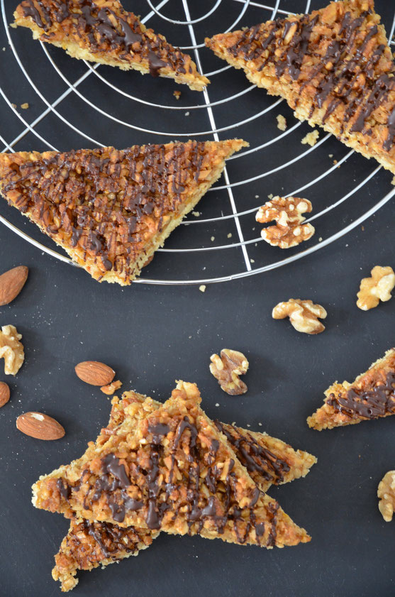 Vegane Nussecken mit Schokoladenüberzug, vegan