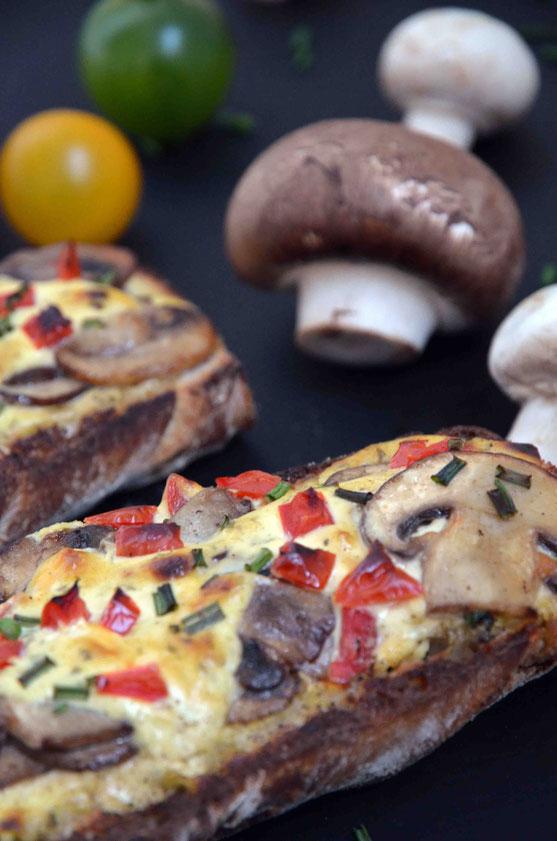 Gebackene Champignon-Baguettes nach Art Bistro-Baguettes - vegan -