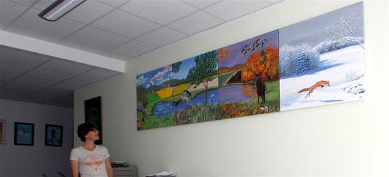 Les 4 saisons sur 4 toiles peintes à l'acrylique : printemps, été, automne, hiver