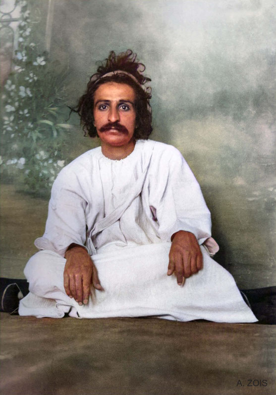 1923 - Quetta : Meher Baba wearing a 'kafni robe' . Image colourized by Anthony Zois.