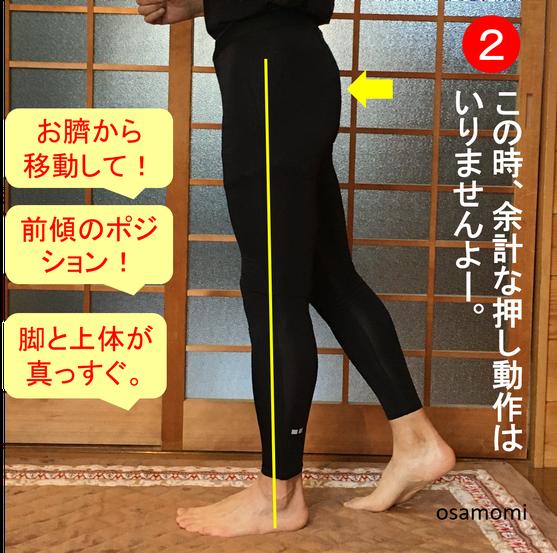 昭島市の競歩教室は、オサモミウォーキング教室昭島。乗り込み動作!重心移動
