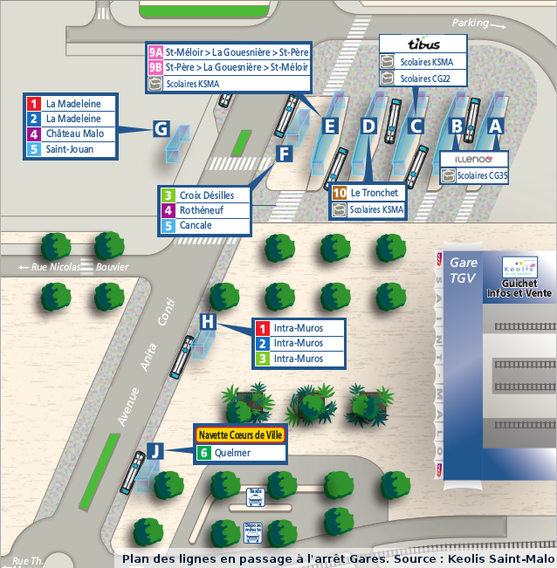 Plan des lignes de bus des réseau KSMA, Illenoo et Tibus desservant la Gare routière de Saint-Malo.