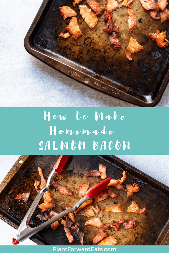 Looking for homemade bacon recipes or seafood recipes? If you love healthy salmon recipes, you'll love this salmon bacon recipe.  #omega3s #bacon #salmon #sheetpan #seafood #fish #breakfast #brunch #pescatarian #recipes