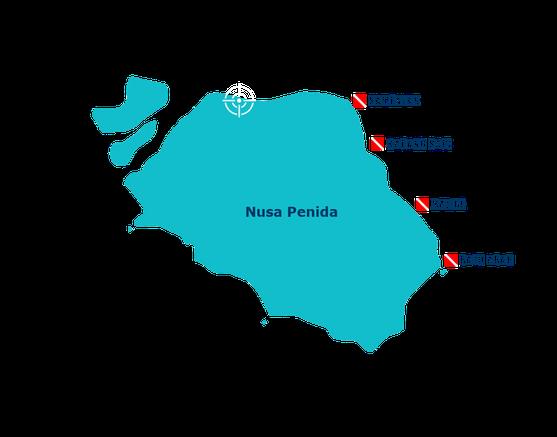 Les sites de plongée à l'Est de Nusa penida, Sampalan, karang sari, Malibu, batu abah