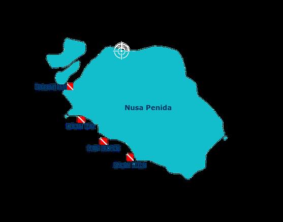 Carte des sites de plongée de Nusa Penida Ouest, crysta bay, manta point.