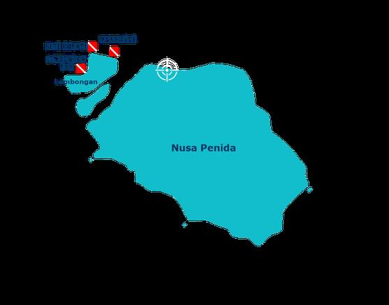 Carte des sites de Nusa Lembongan, blue corner, mangrove, lembongan bay