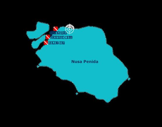 Les sites de plongée au centre de Nusa Penida, Toyapakeh, ceningan wall, gamat bay