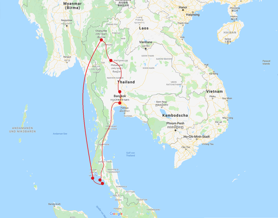 Backpacking Thailand 3 Wochen Route