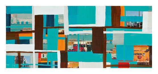 Monika Humm  global Hongkong 70, 2015, Mischtechnik auf LW, 170x190x5cm (Detail)