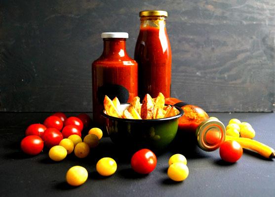 selbst gemachter Ketchup aus Tomaten und Mirabellen