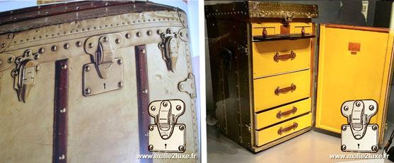 Louis Vuitton brass secretary trunk One of the most exceptional pieces. Date: 1923 Dimension: 57 cm x 53 cm x 91 cm Museum: Louis Vuitton