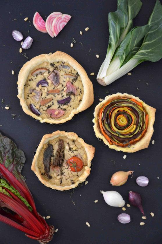 Bunte Gemüse-Quiches, vegan