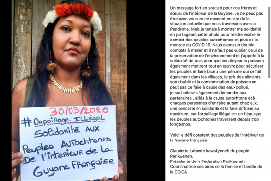 Protest of French Guiana's coastline indigenous people in support of those inland