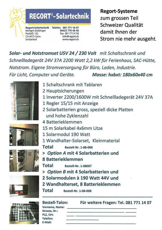 Insel Solar- und Notstromset (USV), 24/230 Volt mit Schnellladegerät und Schaltschrank