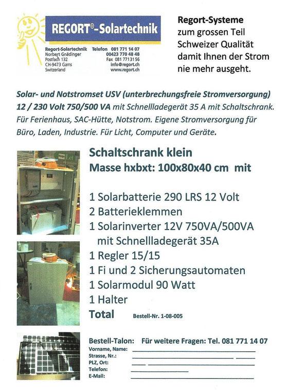 Insel Solar- und Notstromset (USV) 750 VA, 12/230 Volt mit kleinem Schaltschrank