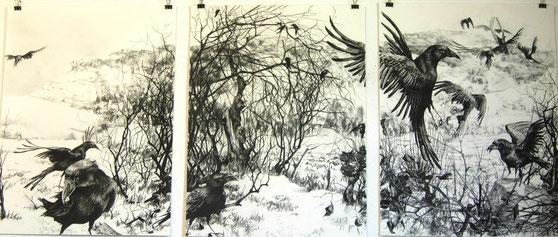 """""""Winterlandschaft mit Krähen"""", Triptychon, Reißkohle auf Papier, 3x je 61 x 46cm, 2015"""