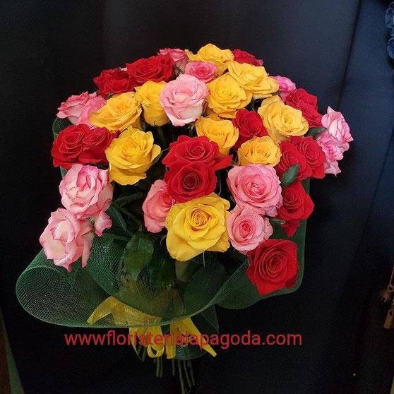 Ramo de 48 rosas multicolor ref rrmc300517