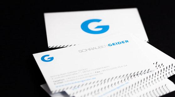 Modernes Erscheinungsbild für die Firma Schrauben Geider aus Hockenheim. Visitenkarten.