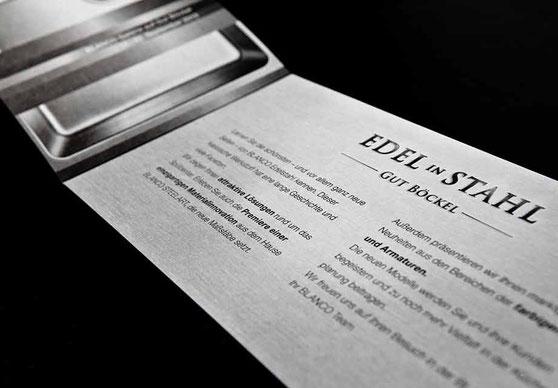 Einladungskarte Edel in Stahl für die BLANCO Hausmesse Gut Böckel