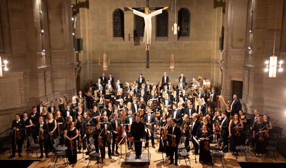 das Bundesschulmusikorchester 2019 bei seinem Konzert in der Christuskirche, Mainz