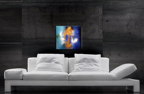 modernes acrylbild in blau und gold 50 x 50 cm