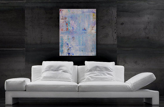Abstraktes Gemälde in Blau, Türkis u. Hellviolett
