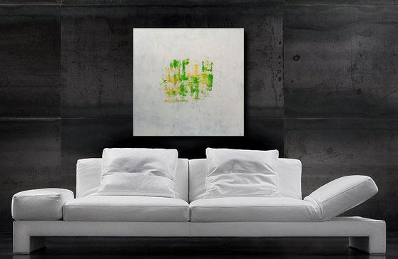 Acrylgemälde, Maigrün, Gelb, 90 x 90 x 4 cm