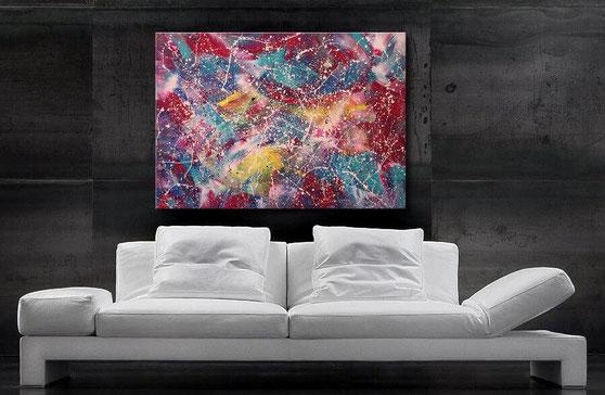 "Wandbild ""Space"" 150 x 80 cm, Blau, Magenta, Gelb, Grün"