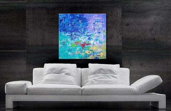 Acrylbild abstrakt 80 x 80 cm, Traunhaftes Blau, Türkis mit Akzenten in Violett, Sand, Stahlblau und Weiß