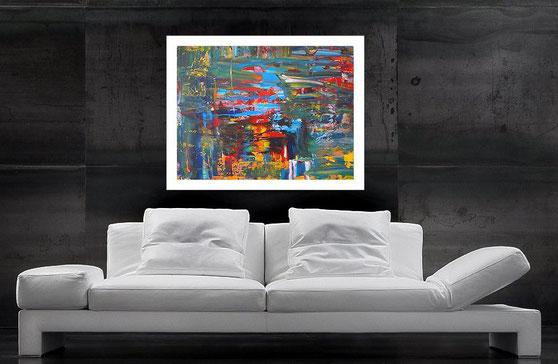 farbenfrohes acrylbild fliessende farben