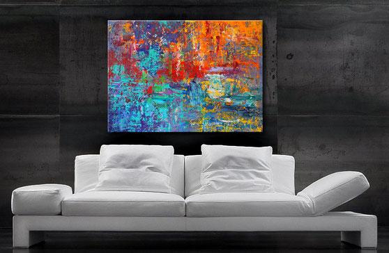 """Wandbild XXL """"Momentum"""" 120 x 90 cm, interessante Strukturen und Verwischungen. Schemenhafte Momentaufnahme."""