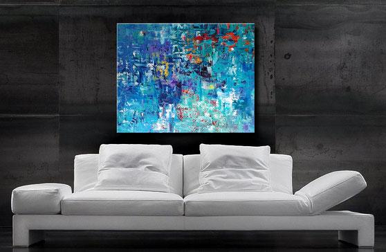 Gemälde kaufen-abstraktes Acrylbild-rot,blau,gelb,weiss-wandbilderkunst.de