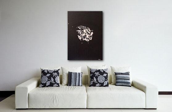 modernes Acrylgemälde in Schwarz-Weiss von Jens Burkhardt-Burk-Art