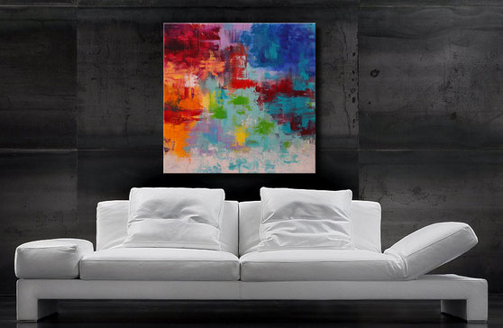 farbenfrohes acrylbild 90 x 70 cm