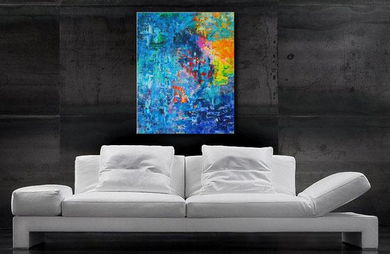 Gemälde kaufen - Acrylgemälde Blau, Rot Gelb, Türkis, Grau, Weiß - Wandbilderkunst.de