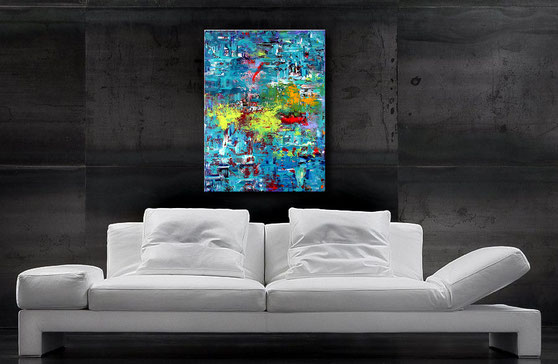 Gemälde kaufen-Acrylbild modern-Wischtechnik-Blau,Rot,Türkis,Weiß-Wandbilderkunst.de