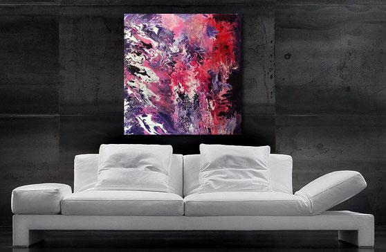 wunderschönes fluid-art acrylgemälde in violett