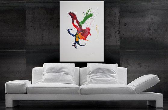 """Wandbild XXL """"Sturm"""" 100 x 100 cm, coole Verläufe in Schwarz, Weiß, Grau, Rot und Akzente in Türkis"""