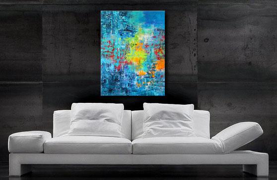abstraktes Acrylbild - interessante Verwischungen und Lasuren