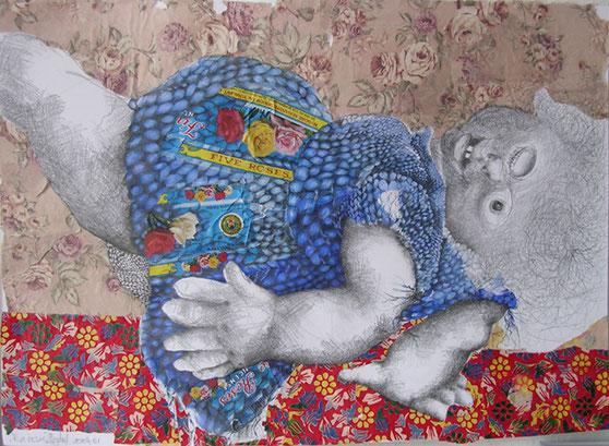 Zeichnung, Figur, Puppe, Maschen, Graphitstift