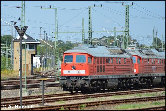 232 457-2 steht am 22. August 2018 am AW Chemnitz zum Abtransport bereit. Die Lok war im Stillstandsmanagement abgestellt und ist nun verkauft worden