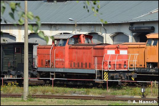 345 064-0 ist ihre Vergangenheit bei DB Cargo noch deutlich anzusehen. Am 21. August 2019 steht sie im Bw Nossen