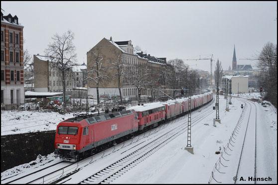 Am 26. Januar 2021 bringt die Loks 17 Loks aus dem Chemnitzer Stillstandsmanagement gen Norden. An der Bernhardtstraße in Chemnitz klickte der Auslöser