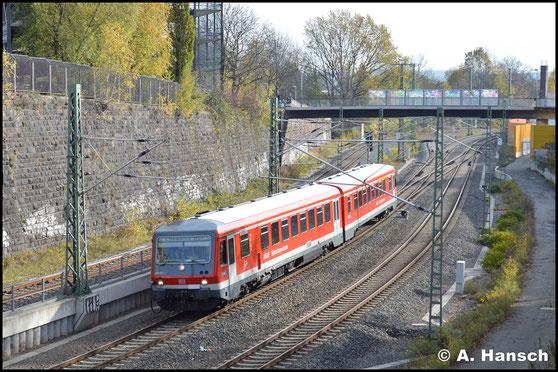 628/928 627 erreicht am 4. November 2017 gerade Chemnitz Hbf. Als Lr-G 27592 verkehrt der Triebwagen von Mühldorf bis zum AW Chemnitz