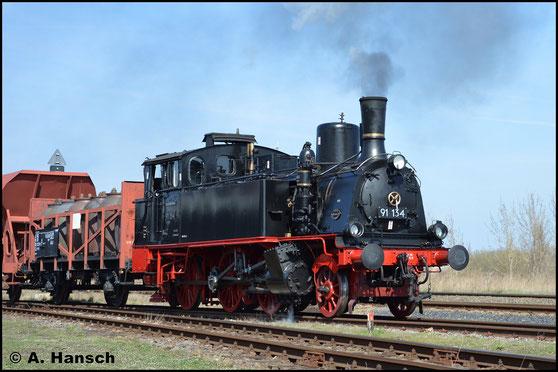 Auch den vereinseigenen Fotogüterzug durfte die kleine Nassdampflokomotive ziehen